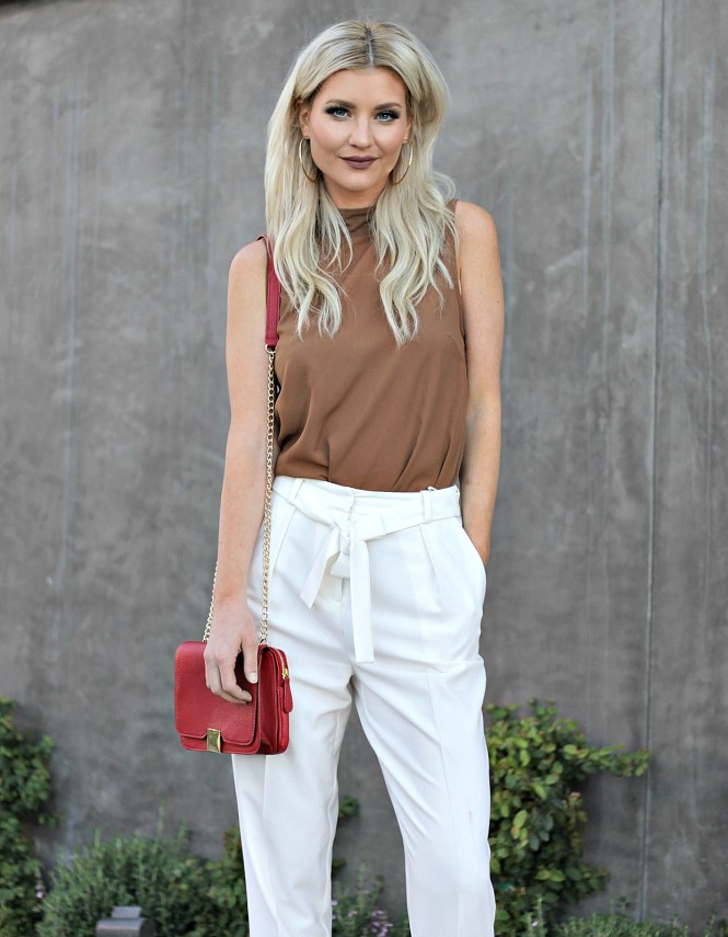 white pants, white trousers, summer style, work outfit, french connection, topshop, outfit ideas, red purse, red bag, how to wear, summer outfit inspo, summer outfit inspiration, strappy sandals, white and tan, las vegas, fashion blogger, how to wear,
