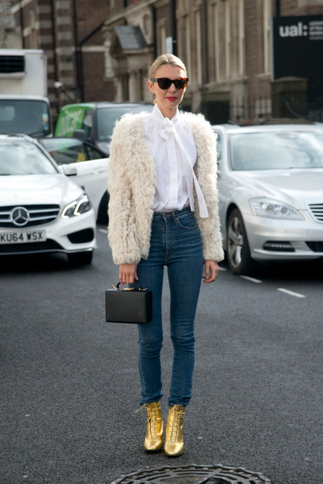 gold booties, outfit, fall 2017, winter 2017, London, style, fashion, fashion week, how to wear, street style, outfit Inso, faux fur, fur jacket,