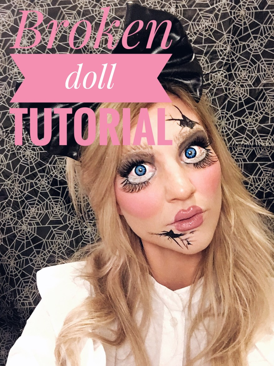 halloween, 2017, halloween makeup, halloween costume, halloween tutorial, halloween makeup tutorial, broken doll, cracked doll, demon doll, Annabelle doll, beauty blogger, beauty, makeup, halloween trends, last minute halloween costume, last minute halloween makeup, easy halloween makeup, Las Vegas blogger, blogger, the noms niche, Lindsey Simon, youtube, video,
