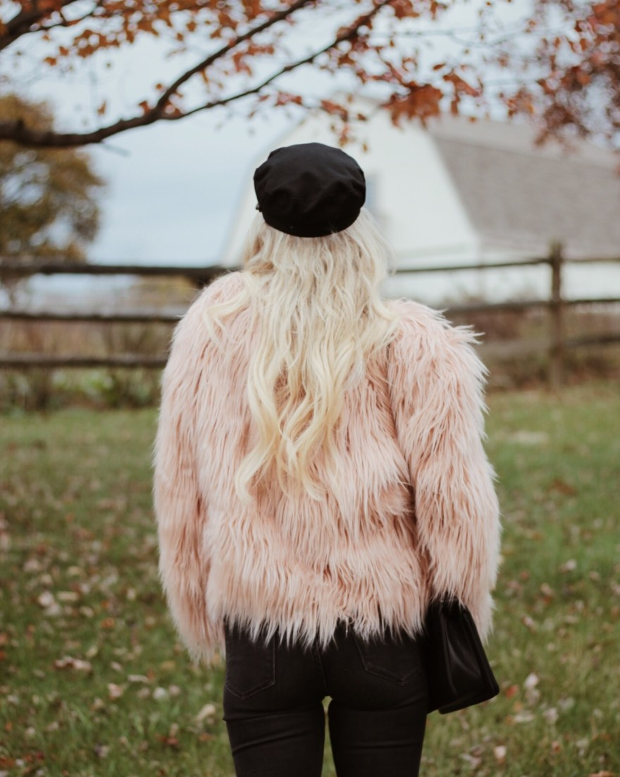 faux fur, coat, jacket, shein, pink faux fur, pink shaggy jacket, baker boy hat, fall fashion, fall style, fall outfit, causal style, bohemian style, 70's style, 70's inspired outfit, street style, the noms niche, black denim, Lindsey Simon, black jeans, ripped jeans, vans, oldskool, how to wear, what to wear with, outfit, inspiration,