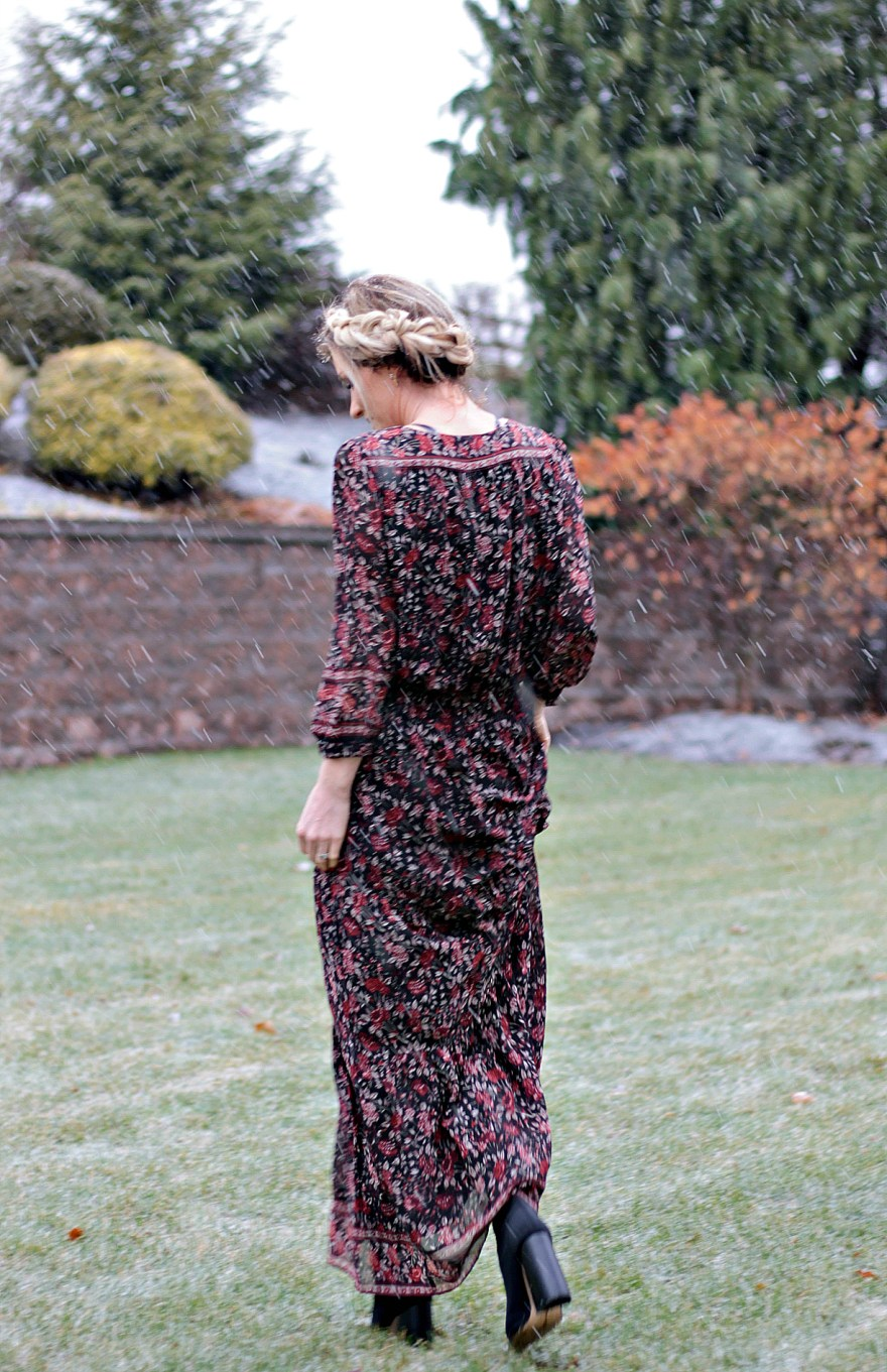 floral, maxi dress, joie, dress, boho style, fall style, winter style, fall outfit ideas, winter outfit ideas, camel coat, halo braid, fashion blogger, style blogger, 2017, 2018, the nomis niche, Lindsey Simon, Las Vegas blogger,