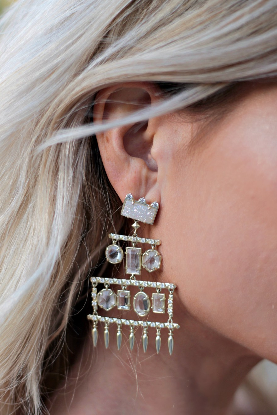 Kendra scott earrings, the noms niche, Lindsey Simon, Las Vegas fashion blogger, Vegas blogger, classy, dressy, nye outfit inspiration, outfit details, statement earrings,