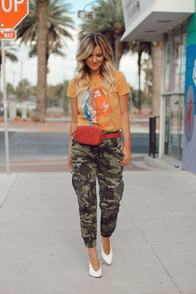 fall trends, fall fashion, fall style, 2018, fall outfit, ideas, casual style, street style, nyfw, camo pants, camouflage, camo print pants, belt bag, white slingback heels, pink Floyd t-shirt, blonde, fashion blogger, style, fashion, who what wear, street style