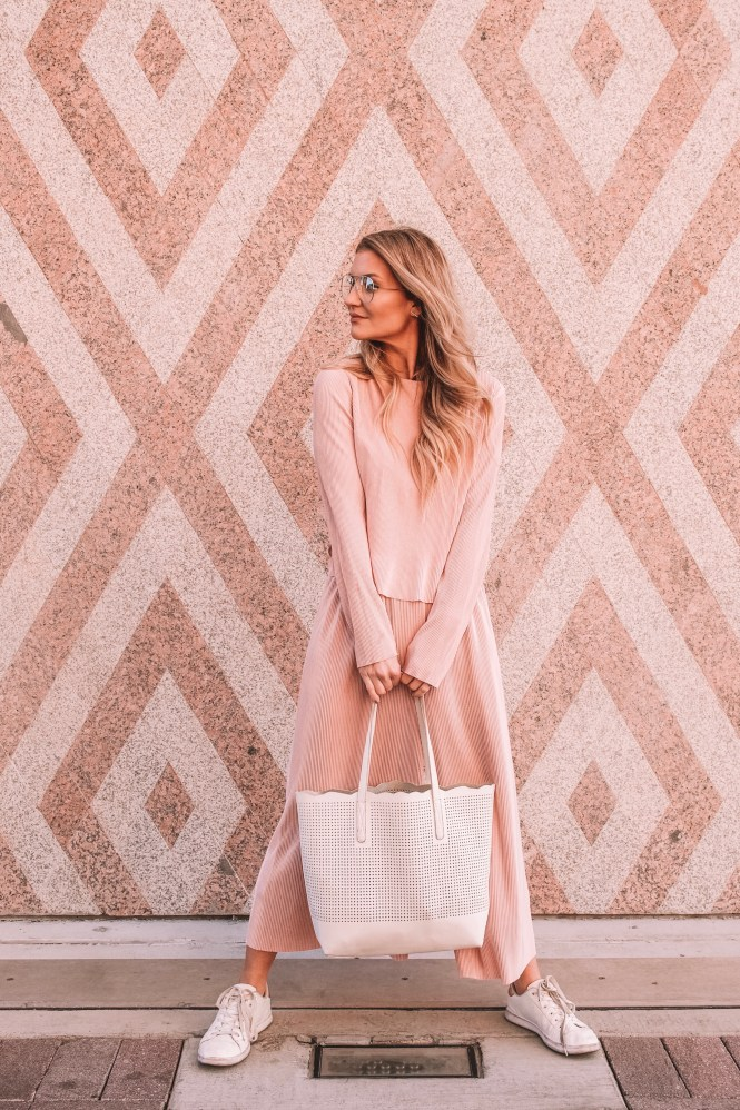 two-piece, matching, set, spring style, spring outfit, summer outfit, pink outfit, blush, how to wear, how to style, casual outfit, work outfit, geeky glasses, trend, 2019 trend, spring 2019, summer 2019