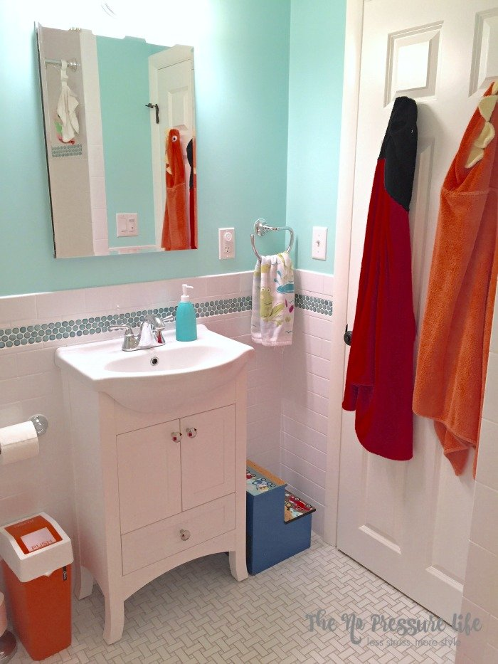 Kids Bathroom with basketweave and penny tile