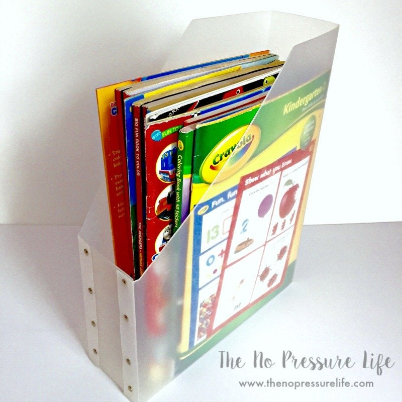Organized coloring books in a magazine file