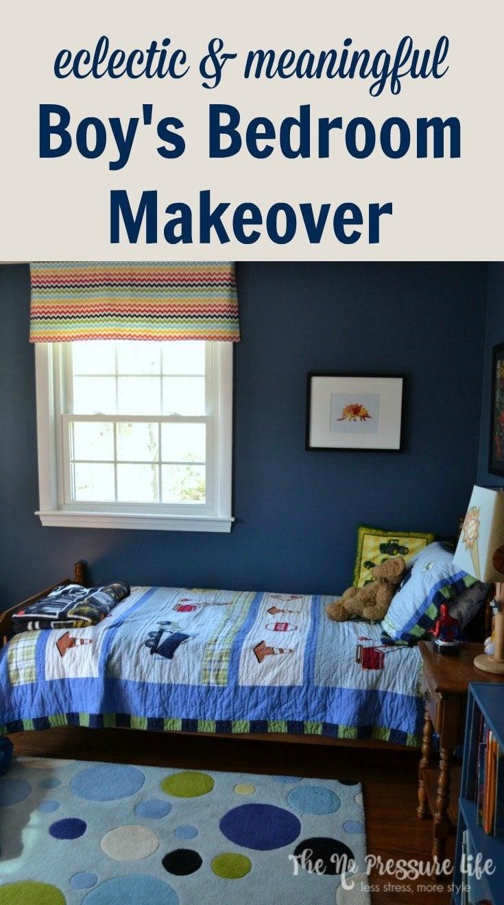 Van Deusen Blue walls in an eclectic little boy's bedroom with a construction truck quilt