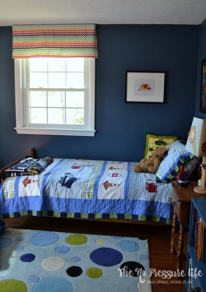 Boy's bedroom painted Benjamin Moore Van Deusen Blue