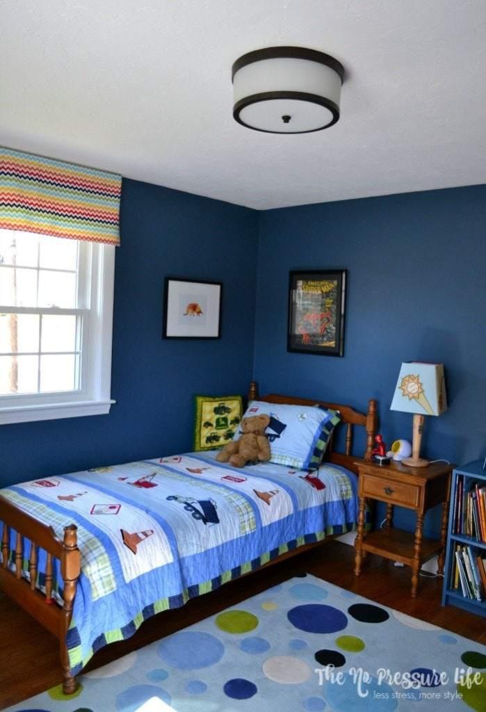 eclectic boy's bedroom painted Benjamin Moore Van Deusen Blue