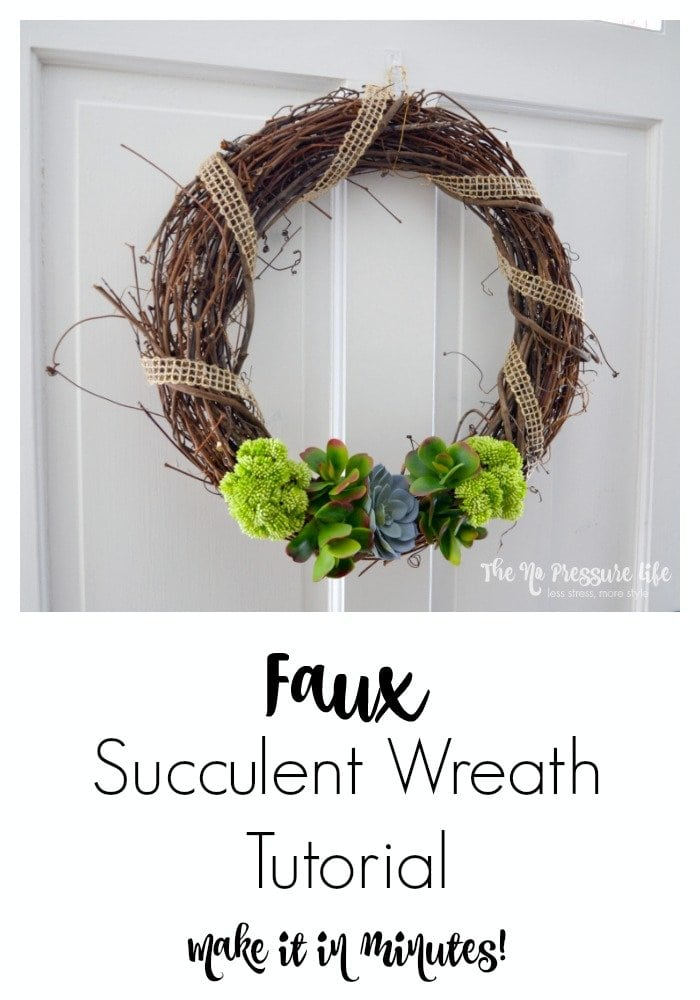 Faux Succulent Wreath Tutorial: Make this simple spring wreath with faux succulents in just five minutes with the how-to from The No Pressure Life.