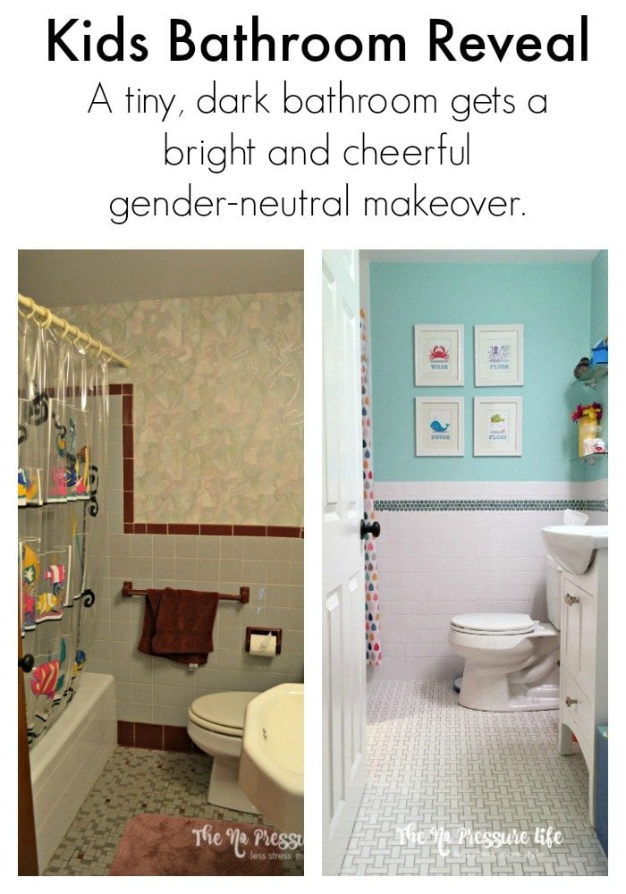 Colorful kids bathroom makeover
