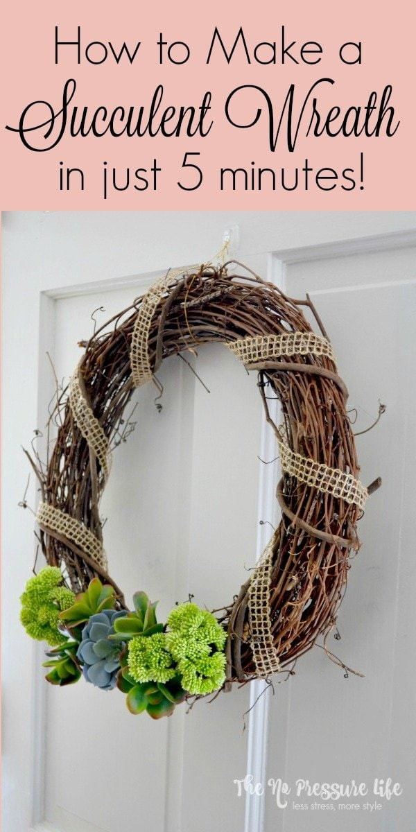 This DIY succulent wreath is so easy to make! It's a great spring wreath and is a quick craft project that you can make in just five minutes. From The No Pressure Life.