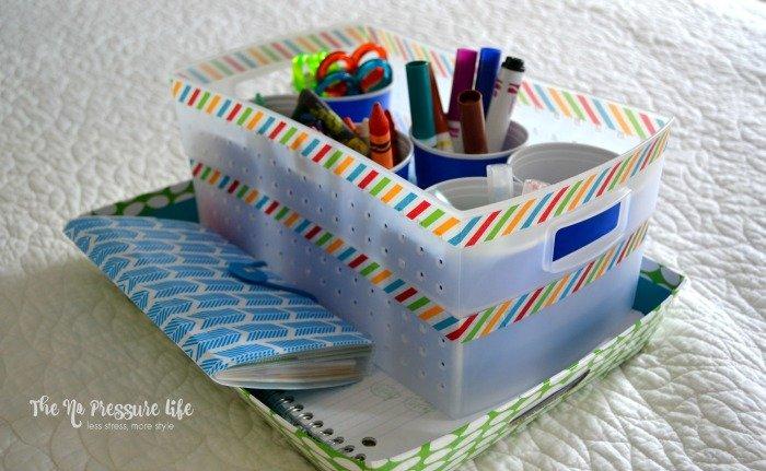 Easy DIY art caddy for kids to make a portable homework station