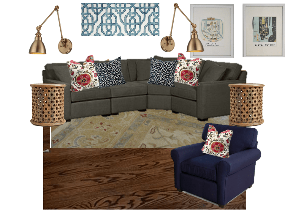 Global inspired family room moodboard with gray sofa, Persian style rug, and brass swing arm lamps.