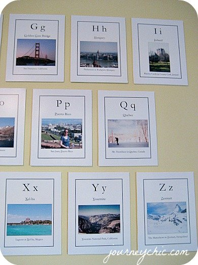 DIY travel-theme alphabet cards for nursery