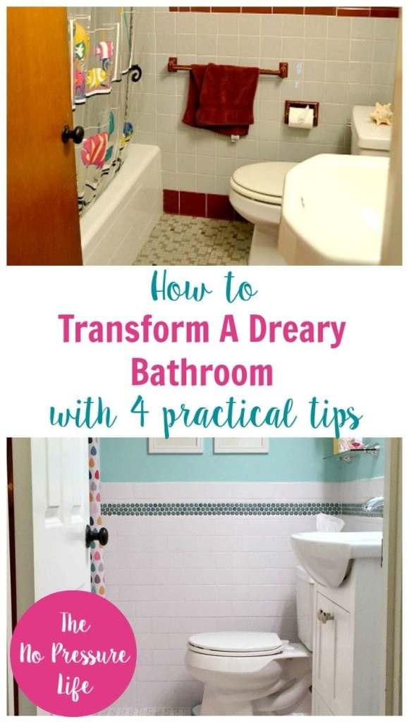 4 Tips to Transform a Dreary Bathroom | bathroom renovation, bathroom remodel, bathroom before and after, kids bathroom ideas, bathroom renovation tips