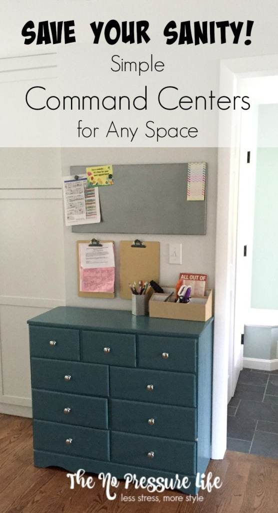 Keep your daily life organized with an inexpensive and simple command center! You don't need a lot of space - just a little organization. Get the how-to at www.thenopressurelife.com