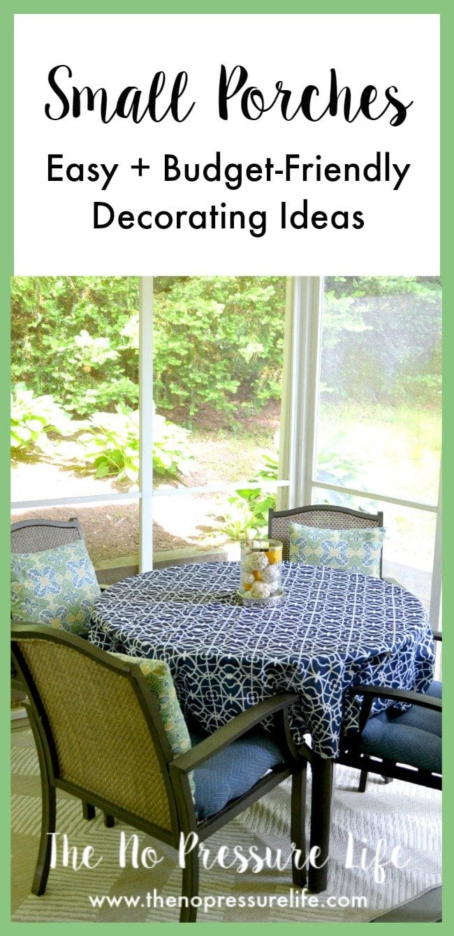 These small porch decorating ideas are great! I love these tips to update a small screened-in porch on a budget.