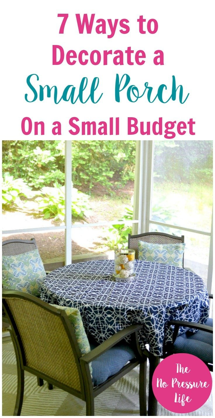 How to decorate a small porch on a budget! Get decorating tips for your small screened-in porch or small front porch to make it look great for summer! via @nopressurelife