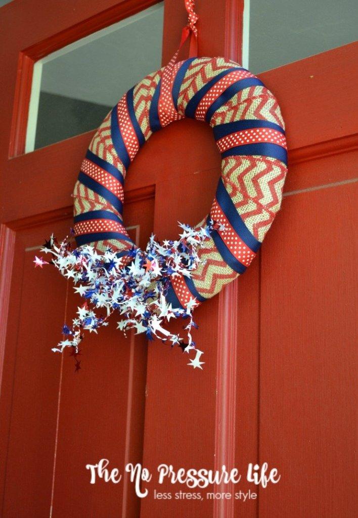 Simple DIY patriotic wreath on a red door