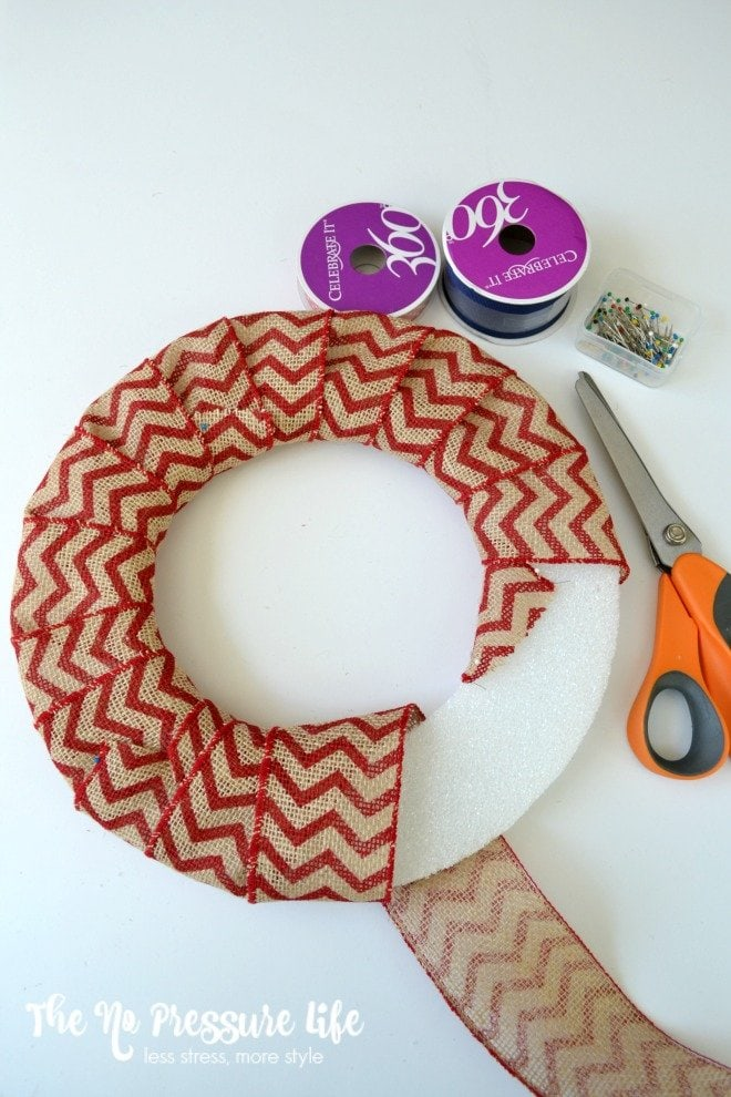 How to cover a foam wreath form with burlap ribbon
