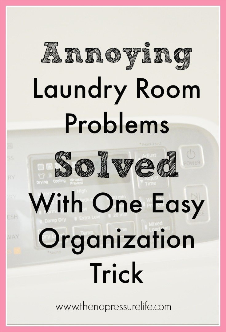 This quick laundry room organization tip made such a difference in my small laundry room! Such an easy way to contain dryer lint and store extra hangers. | The No Pressure Life