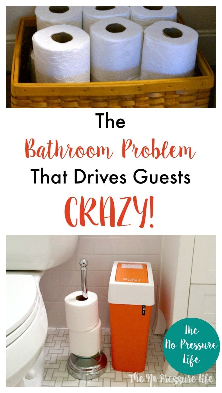What bathroom problem do your guests dread? This simple bathroom organization trick will relieve your guests and keep them from snooping in your cabinets! | The No Pressure Life