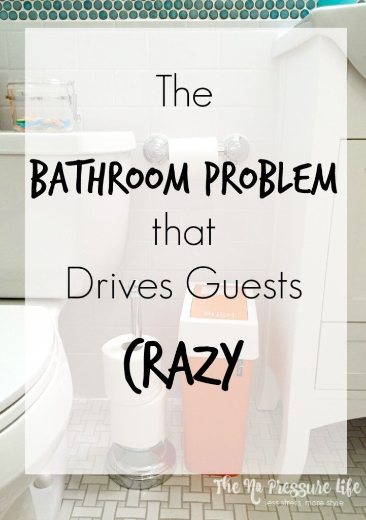 What bathroom problem do your guests dread? This simple bathroom organization trick will relieve your guests and keep them from snooping in your cabinets! Learn more at thenopressurelife.com.