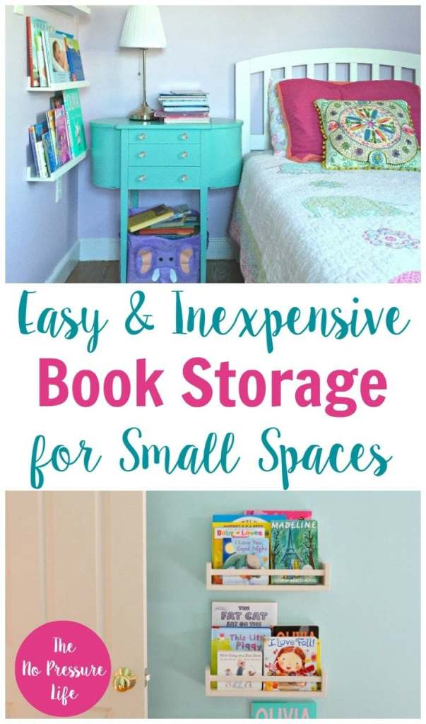 Easy + Inexpensive Book Storage for Small Spaces. | small space decorating, small bookshelves, bookshelves small space, wall bookshelf, wall bookshelves, bookshelves for kids, nursery bookshelves