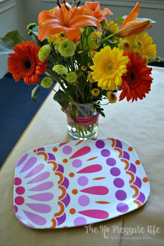 Easy ideas for entertaining and decorating with vibrant melamine serving pieces.