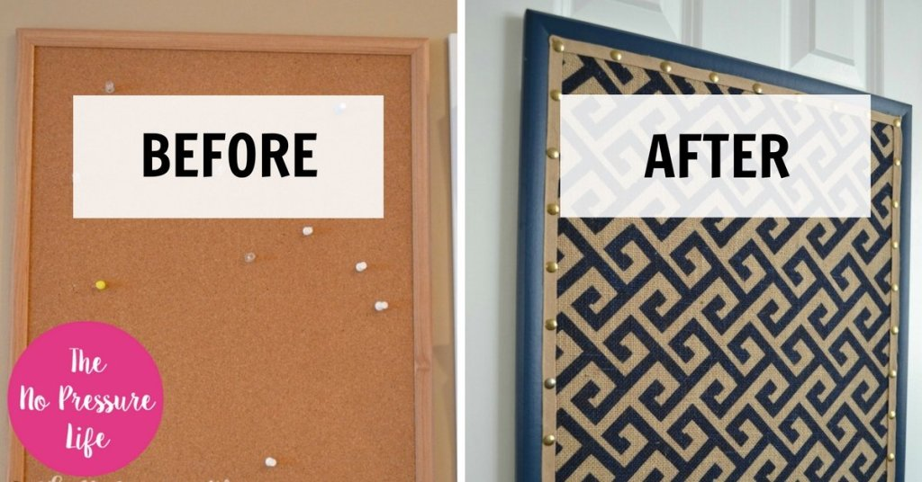 Cork Board Makeover - how to add fabric and ribbon to a corkboard