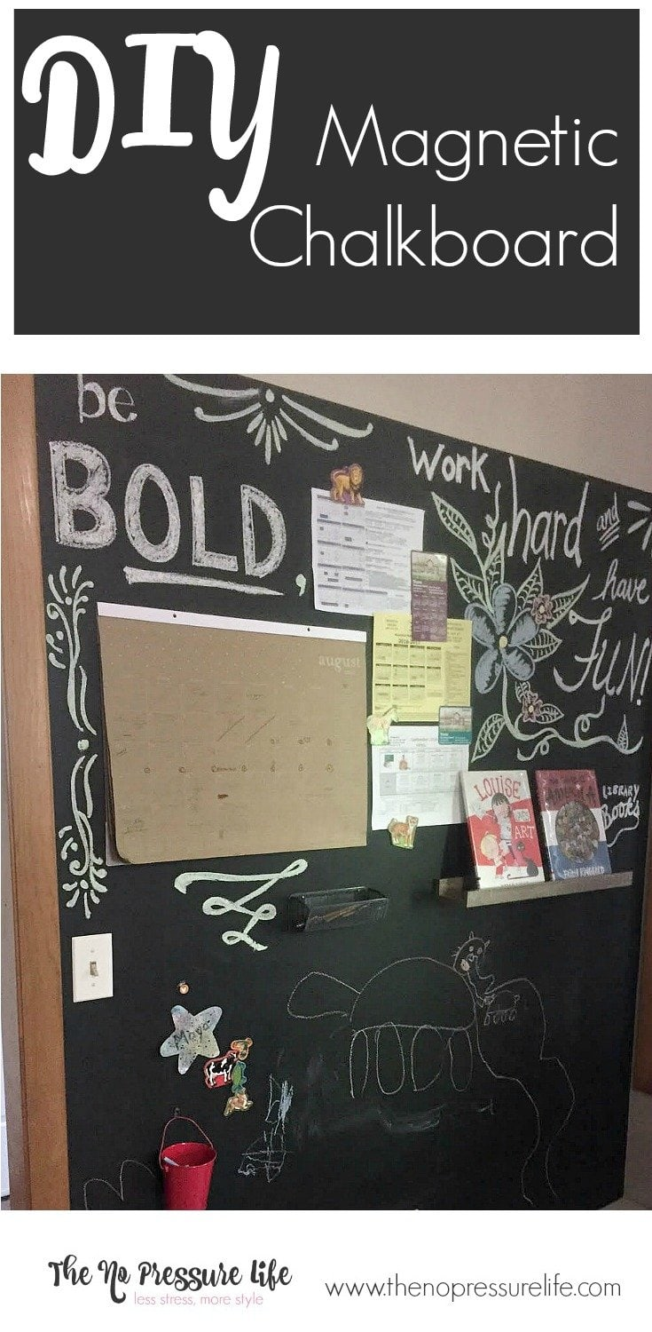 This DIY magnetic chalkboard is a great way to get organized! Use it as a command center and a space to be creative. Get the magnetic chalkboard wall tutorial at www.thenopressurelife.com.