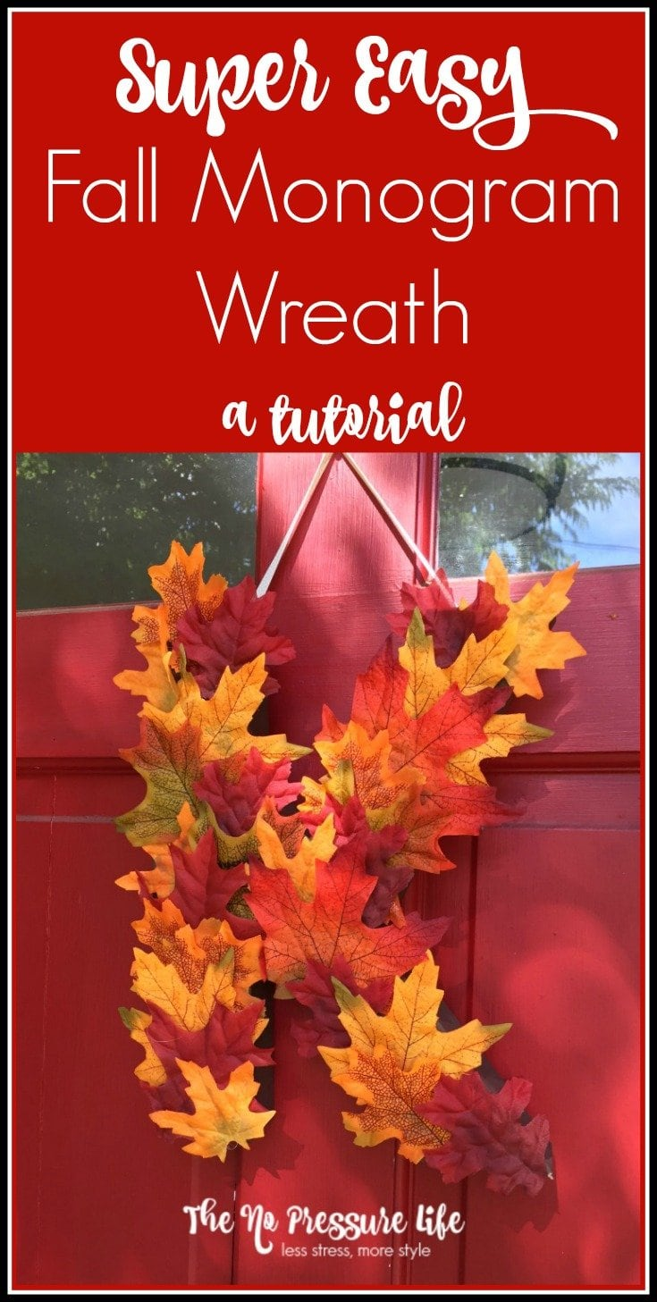 Make this pretty fall monogram wreath in less than 20 minutes! A DIY fall monogram wreath is an easy way to decorate your front door. Get the tutorial at The No Pressure Life.