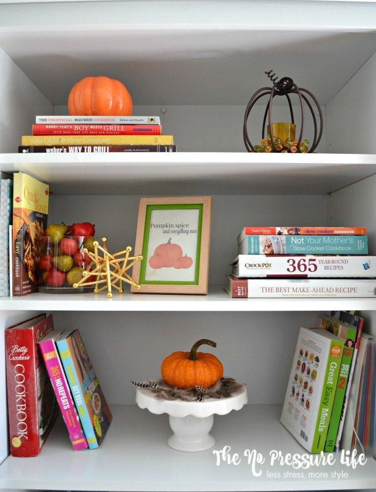 Kitchen bookshelf with cookbooks | The No Pressure Life
