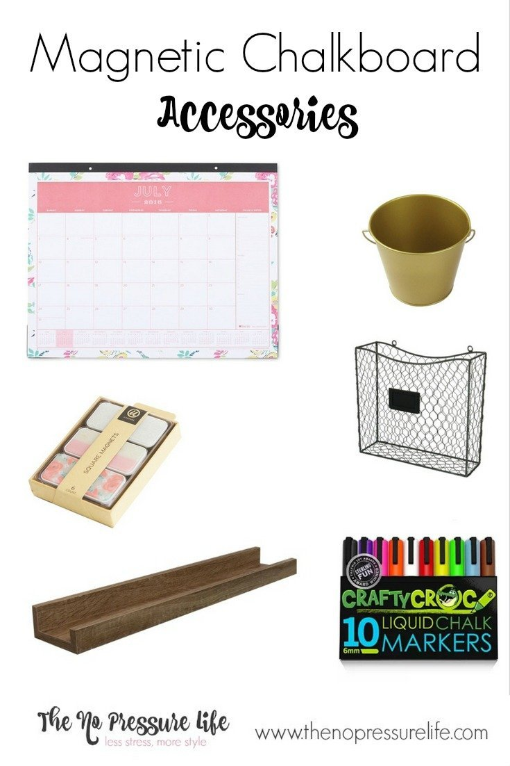 These feminine office supplies are a great way to make your magnetic chalkboard wall or family command center more pretty and functional! Learn how to make a magnetic chalkboard wall and get the sources for these accessories at www.thenopressurelife.com.