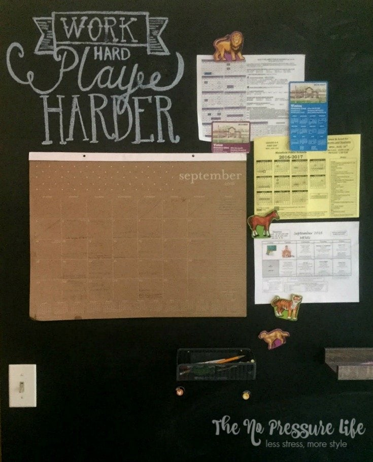 DIY magnetic chalkboard wall with calendar and shelves