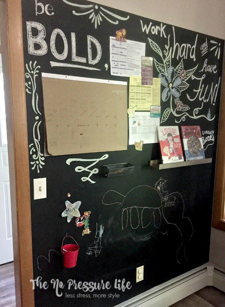 This magnetic chalkboard wall is a great way to create a simple command center for your family! Learn how to make this magnetic chalkboard at www.thenopressurelife.com.