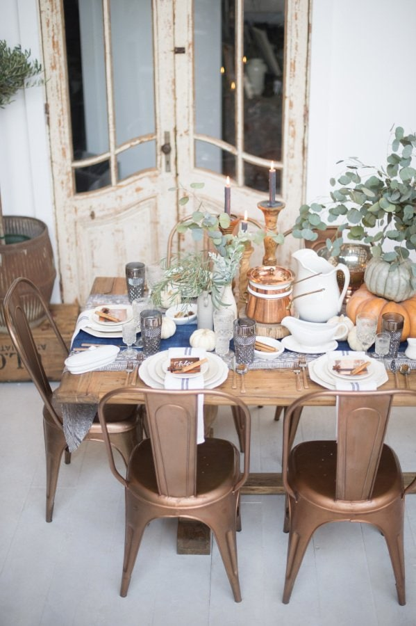 Copper & Blue Dining Room, via Style Me Pretty, photo by Joel Maus