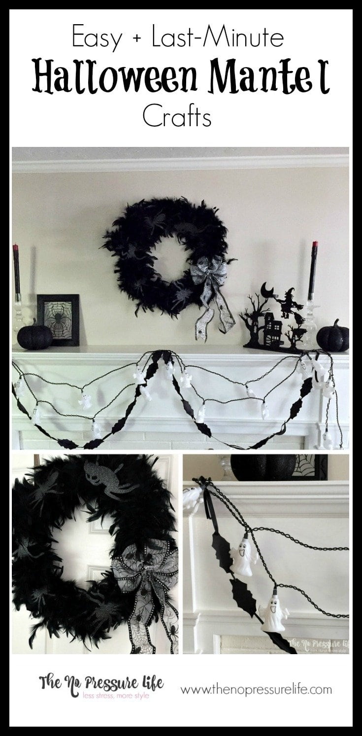 "These last-minute, easy Halloween mantel crafts are sure to be a hit! Make them while you watch ""The Great Pumpkin"" and drink a PSL. :) Get the instructions at www.thenopressurelife.com"
