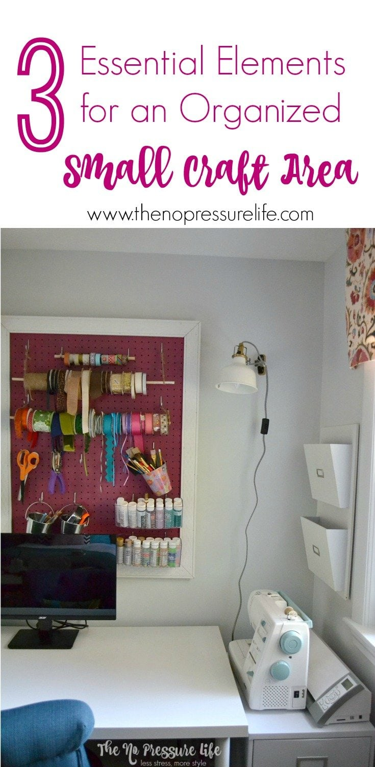 Create and organize a small craft area with 3 essential tips, plus see a inspiring craft room makeover! | The No Pressure Life