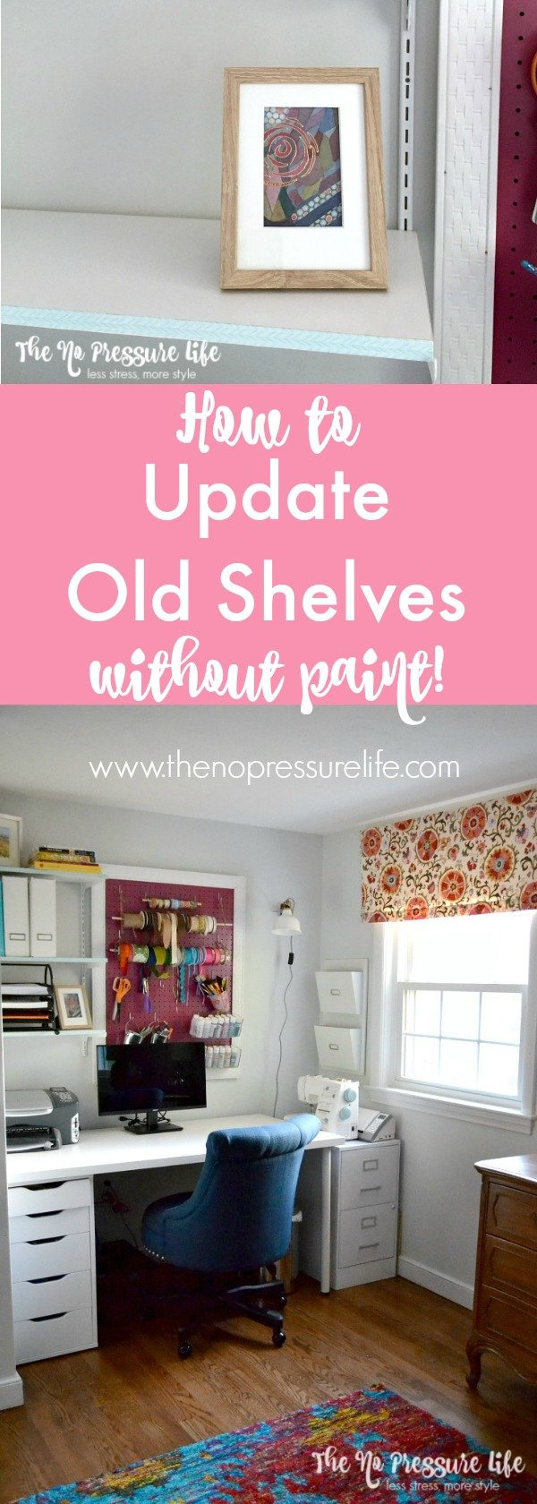 So easy! Update old shelves without paint! Use the same method for a quick bookcase makeover. | The No Pressure Life.