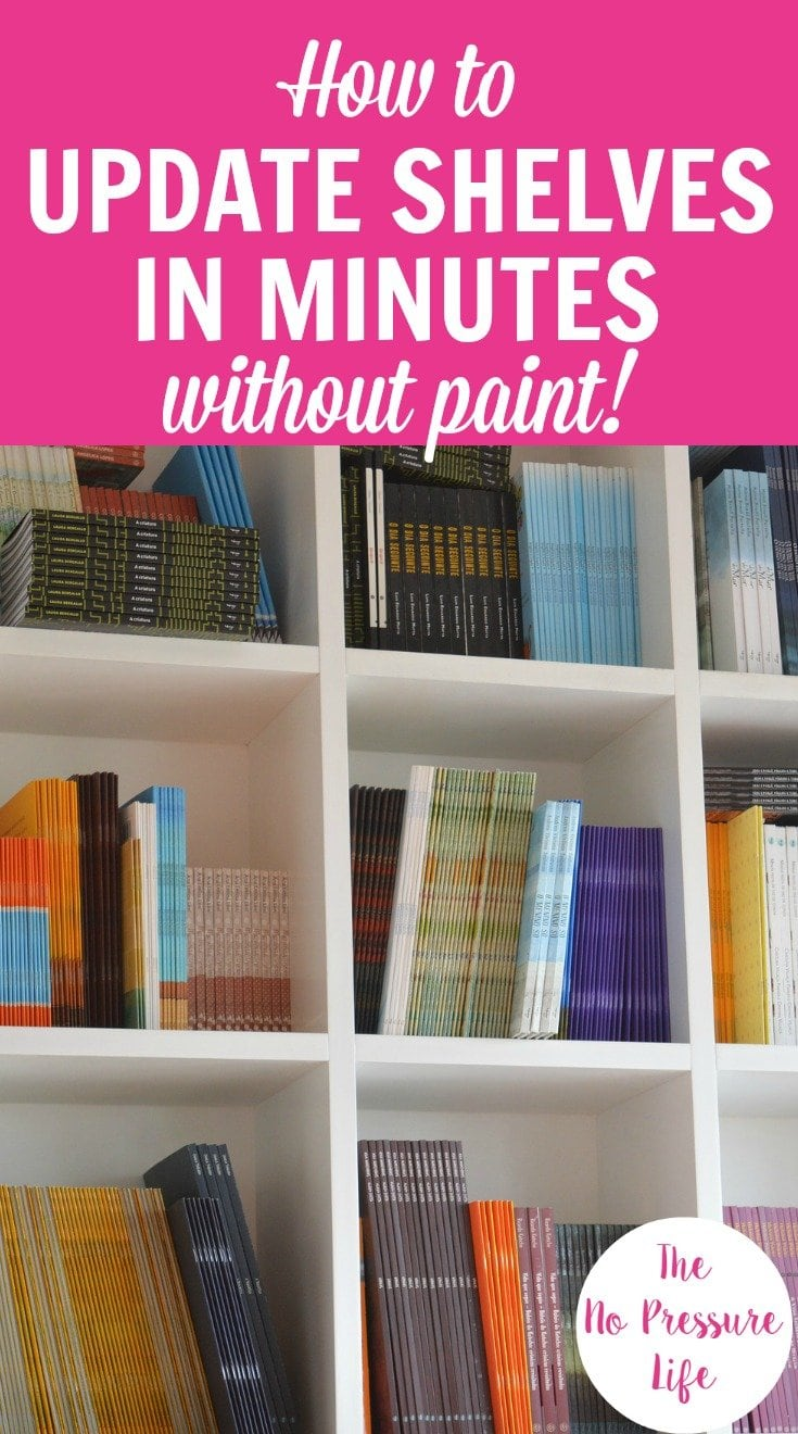 bookcase with colorful books
