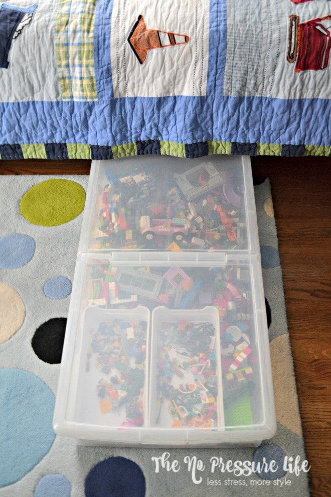 Easy ways to organize LEGOS - LEGO organization in a boys bedroom under the bed
