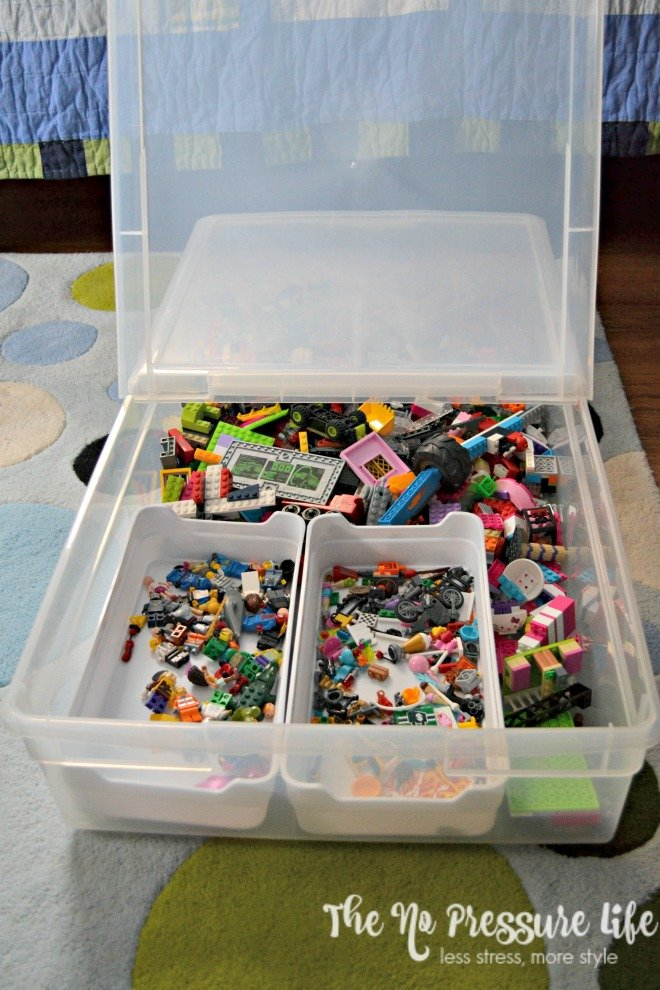 How to organize LEGOs in an underbed storage container