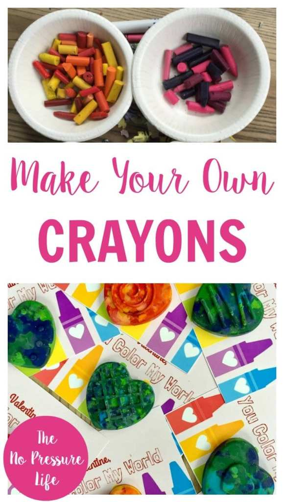 DIY crayons, broken crayon crafts, molded crayons, heart crayons, Valentine's Day crafts for kids, crayon party favors