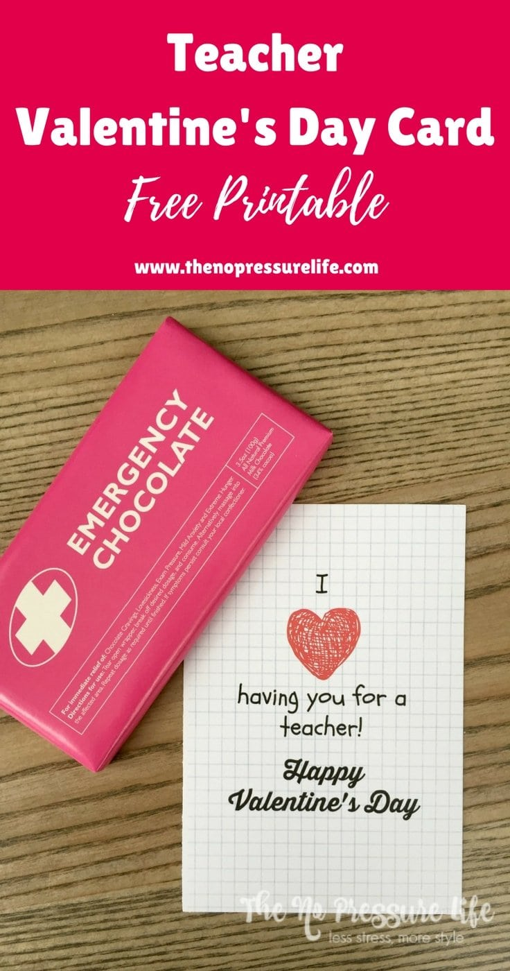 I wanted a teacher Valentine's Day card that would work with any Valentine's Day gift for my kids' teachers, and this is the perfect free printable card! | The No Pressure Life