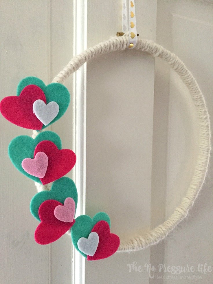 Embroidery hoop Valentine's Day Wreath