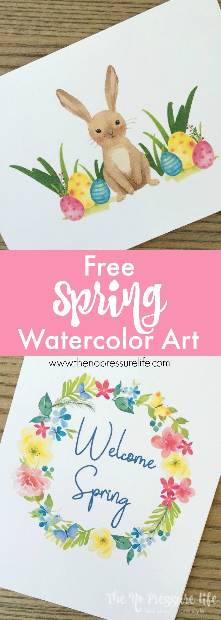 These free spring printables are so cute! Get free spring printable art to decorate your home! Free watercolor prints for spring. | The No Pressure Life
