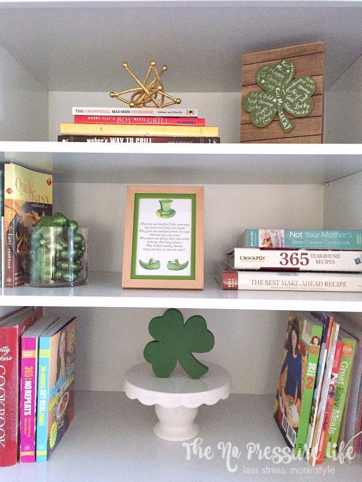 St. Patrick's Day decorations on a bookshelf