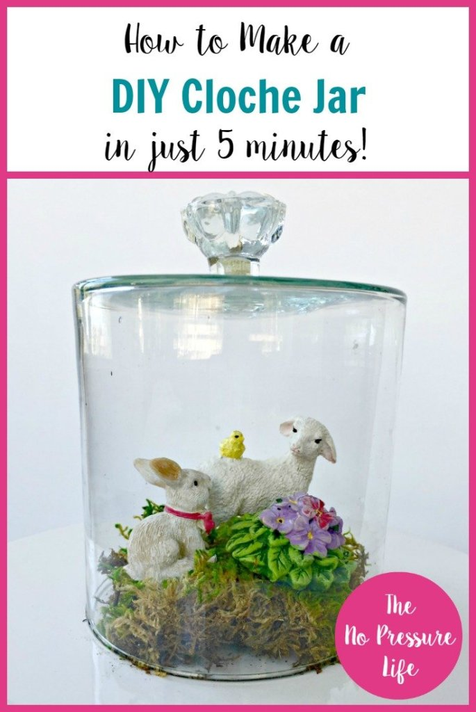 This DIY Cloche takes just 5 minutes to make! | cloche jar, Easter cloche, how to make a cloche, diy glass cloche